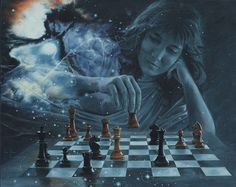 Beautiful Chess Oil Painting