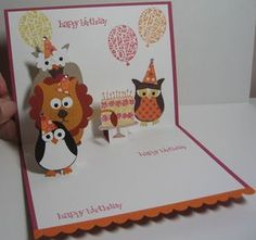 """""""Maggie's Owl Birthday Punch Card,"""" Owl punch for other animals too, pop-up card, Party This Way stamp set, Stampin Up Card"""