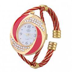fe4565a4fbf Fashion Women Girls Rhinestone Crystal Bracelet Bangle Quartz Wrist Watch