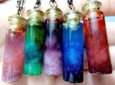 Universe in a Bottle Jar with water Cotton Wool Glitter Food Coloring