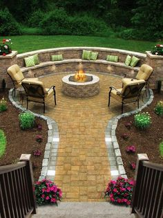 Look at all that seating! Perfect for a party. The brick paver fire pit and seating area looks so beautiful.