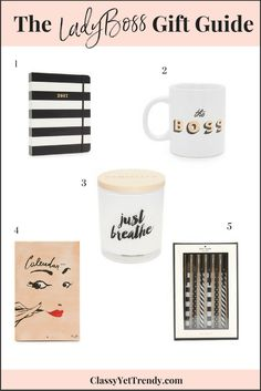 The LadyBoss Gift Guide - for the stay at home mom entrepreneur and career woman - agendas / planners, coffee mugs, candles, designer calendars and pen sets, would look great and function well at the office or in your home office at your desk.