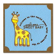 Flocked Stamped Giraffe Baby Mini Card
