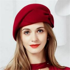 Red beret hat with bow for women fashion winter wool barrette hat 3c2deedee35