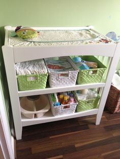 Baby Change station. Storage and changing table with lots of room for all the necessities.