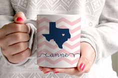 chevron state love coffee mug. any state, any color combination.  #swankypress