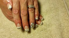 White Tips and Silver Confetti with Amore Ultima Gel #nail #nails #nailart