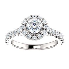 10kt White Gold 5.2mm Center Round Cubic Zirconia and 26 Accent Round Diamonds Engagement Ring...(ST122804:147:P).! Price: $719.99
