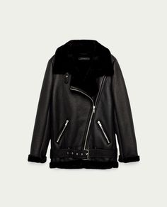 Image 11 of FAUX FUR COLLAR BIKER JACKET from Zara