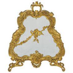 19th Century French Gilt Bronze Fire Screen