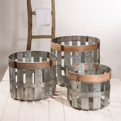Just for You Galvanized Slotted Storage 3 Piece Metal Basket Set by Gracie Oaks Fabric Storage Bins, Fabric Bins, Storage Baskets, Easy Storage, Storage Boxes, Galvanized Decor, Galvanized Metal, Metal Baskets, Wicker Baskets