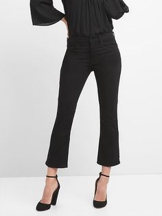 High Rise Crop Flare Jeans in Everblack