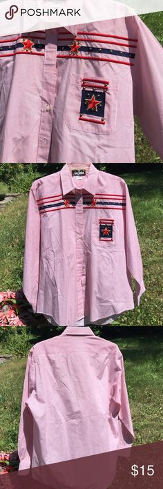 Happy 4th of July shirt Red and white  thin pin stripe button down shirt. Embellished within front with ble and red stripes (bars), red star patches and brass studs. NWOT. Happy Independence Day Poshers!!!!! Gepetto Tops Button Down Shirts
