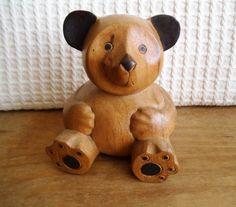 Vintage Hand Carved Wooden Teddy Bear by EmporiwmYstalyfera, £12.00