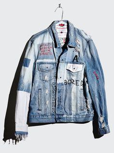 Unisex Jacket Wasted Roadie – ksubi Kustom Denim Jacket  One of a kind, custom piece  Size Large  100% Cotton