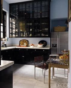 gloss black glass front cabinets