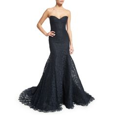 Monique Lhuillier Strapless Corded Lace Trumpet Gown ($4,995) ❤ liked on Polyvore featuring dresses, gowns, gown, midnight, white lace gown, white fitted dress, white evening gowns, long evening gowns and lace gown