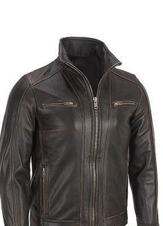 matte black leather (not pleather looking) Men leather jacket men brown shaded leather by customdesignmaster, $159.99