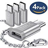 USB Type C Adapter JSAUX Aluminum USB C to Micro USB Convert Connector with Keychain for Samsung Galaxy Note 8 S8 New Macbook Pixel XL Nexus 5X 6P LG G5 G6 V20 Nintendo Switch and More(Silver 4 Pack)