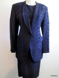 MANSFIELD England - English Tweed Jacket Dress Suit - Midnight Blue - 16 18 44 #MansfieldEngland #JacketandDressSuit