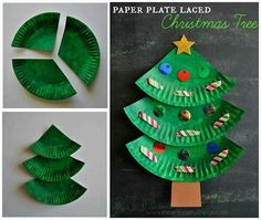 Christmas tree diy with paper plates. Fun crafts for the kids More