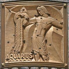 art deco Aquarius bas relief