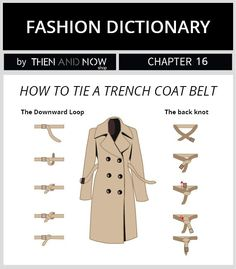 How to tie a trench coat belt - fashion dictionary Fashion Terms, Fashion Mode, Look Fashion, Korean Fashion, Winter Fashion, Fashion Design, Lolita Fashion, Fashion 2018, Petite Fashion