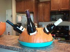 Pumkin wine holder. Put ice under the pumpkin.