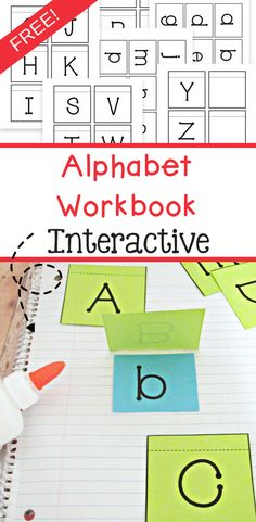Free alphabet workbook that is also interactive! Great way to teach preschoolers and Kindergartners their alphabet. This free printable includes both upper case letters and lower case letters. Free Preschool, Preschool Curriculum, Preschool Printables, Preschool Ideas, Teaching Ideas, Free Printables, Teaching Resources, Preschool Readiness, Preschool Journals