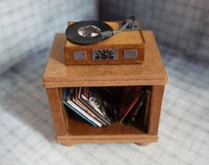 Vintage paper record player, records & cabinet – retro – tiny record player – miniatures – paper sculpture - turntable – paper art