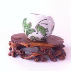 Vintage Chinese  White Porcelain  Bird Feeder by BluePearEmporium