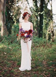 #flower-crown, #fashion, #dress  Photography: Em the Gem - emthegem.com Floral Design: Michelle Lywood - http://michellelywood.com Wedding Dress: Alice + Olivia  - aliceandolivia.com