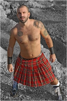 """This reminds me very much of how I did """"kilt as klubwear"""" in '90s...complete with lace up boxing boots. Top notch!"""