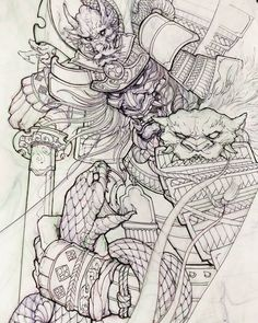 Samurai and snake. #chronicink #asiantattoo #asianink #irezumi #tattoo #sketch #illustration #drawing #samurai #snake #irezumicollective