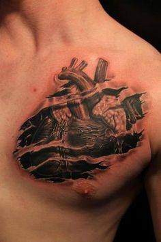tattoo showing heart surrounded by ripped skin on chest | something along these lines, skin ripped back to show heart more