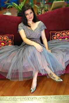 A Norman Original Purple Lace and Tule Party Dress by VintageDiggs, $210.00