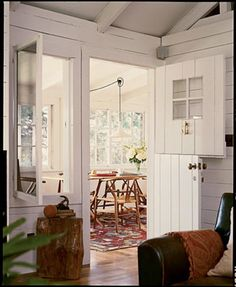 love this retrofitted space and the interior dutch door! Small Living, Home And Living, Living Spaces, Dutch Doors, Im Coming Home, Interior Windows, Sweet Home Alabama, Humble Abode, Home Staging