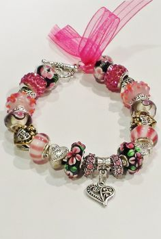 Valentine's Day Heart Bracelet European Bead Charm Bracelet by ThemeBraceletGal on Etsy