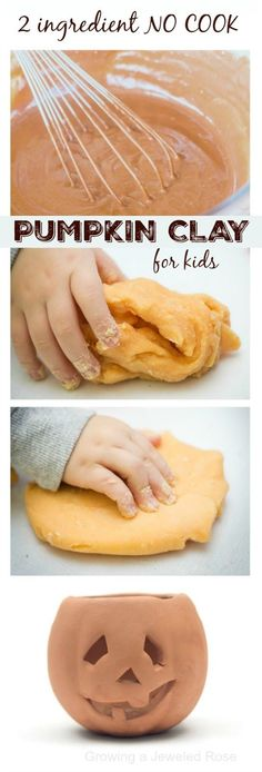 2 ingredient NO COOK pumpkin play clay for kids. This dough is so delightfully squishy