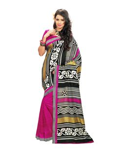Pink with black and gray printed #bhagalpurisilksaree