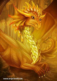 dragon Glueckseligkeit by ArkaEdri on DeviantArt Yellow Dragon, Gold Dragon, White Dragon, Magical Creatures, Fantasy Creatures, Dark Fantasy, Fantasy Art, Cool Dragons, Beautiful Dragon