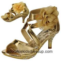 2526bffd9c61 Little girls high heel shoes in sizes toddler 8 to children s size 4. Gold  high