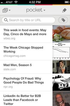Pocket to save articles for later
