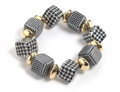 Houndstooth Beaded Bracelet by Adina Plastelina.