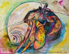 """Hermit Crab Art Print, Hermit Crab Paper Print, Hermit Crab Wall Art, """"Herbert the Hermit Crab"""" by Jen Callahan Crab Painting, Love Painting, Painting Prints, Art Prints, Crab Art, Fish Art, Sea Life Art, Ocean Life, Color Of Life"""