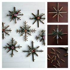 Wonderful DIY Rustic Twig Snowflakes