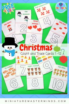 Christmas Count And Trace Cards 1 - 12 Preschool and Toddler Counting and Number Recognition Merry Christmas Printable, Diy Christmas Cards, Christmas Themes, Christmas Crafts, Christmas Activities For Kids, Preschool Christmas, Christmas Math, Xmas, Preschool Puzzles
