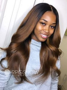 Brown Ombre Middle Parting Wavy Lace Front Wig - laidbytima008 Hot Beauty Hair, Hair Colorful, Curly Hair Styles, Natural Hair Styles, Batons Matte, Different Hair Types, Body Wave Hair, Remy Hair, Weave Hairstyles