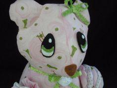 July Sale**14 Pink Rose Stuffed Plush Yo Yo Bear animal by SursyShop on Etsy, $35.00