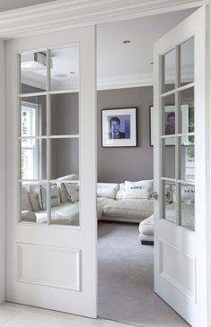 Interior Door Design Ideas - Take a look at these wow-worthy interior doors, and open up to new ideas and styles for your home. Contemporary Interior Doors, Double Doors Interior, Interior Barn Doors, Exterior Doors, Half Glass Interior Door, Interior Door Styles, Farmhouse Interior, Glass Barn Doors, Glass French Doors
